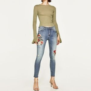 Zara The Skinny in Helen embroidered jeans 4